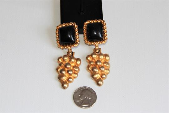 RUNWAY COUTURE Vintage Escada Black Enamel and Brushed Gold Earrings Image 1