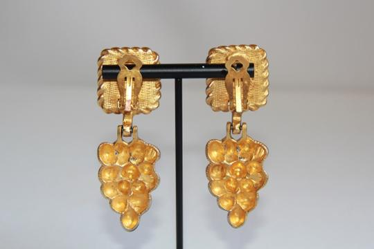 RUNWAY COUTURE Vintage Escada Black Enamel and Brushed Gold Earrings Image 2