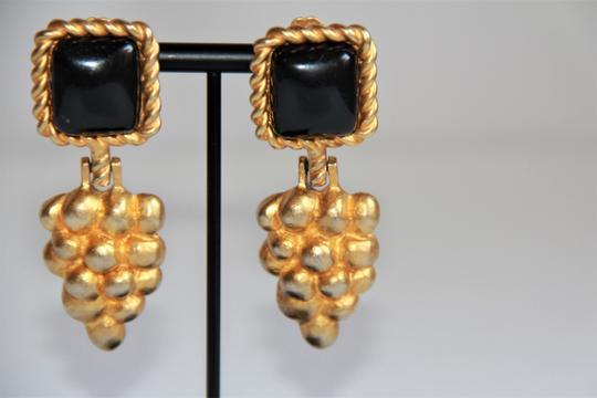 RUNWAY COUTURE Vintage Escada Black Enamel and Brushed Gold Earrings Image 3