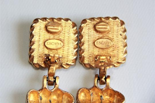 RUNWAY COUTURE Vintage Escada Black Enamel and Brushed Gold Earrings Image 4