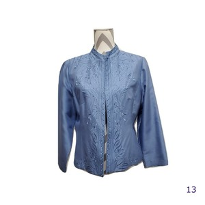 Papell Petites Silk Embroidery Beads Blue Blazer