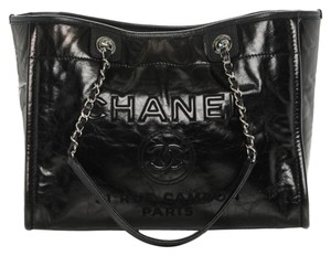 Chanel Deauville Glazed Tote in black