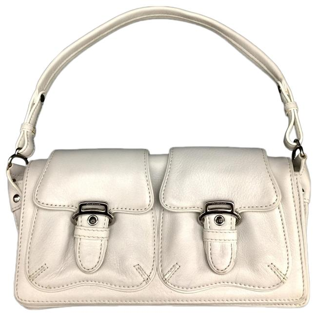 Item - Shoulder Bag W Small W/ Silver Hardware White Leather Baguette