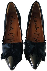 Lanvin Patent Leather Bow Mirrored Heels Black Pumps