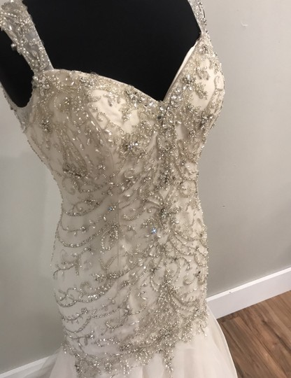 Maggie Sottero Ivory/Light Gold 5652 Traditional Wedding Dress Size 10 (M) Image 2