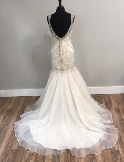 Maggie Sottero Ivory/Light Gold 5652 Traditional Wedding Dress Size 10 (M) Image 3