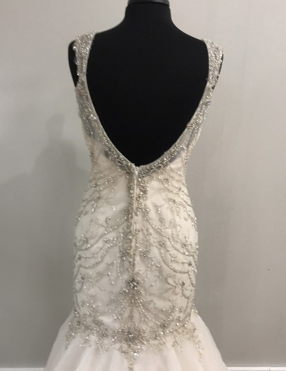 Maggie Sottero Ivory/Light Gold 5652 Traditional Wedding Dress Size 10 (M) Image 4