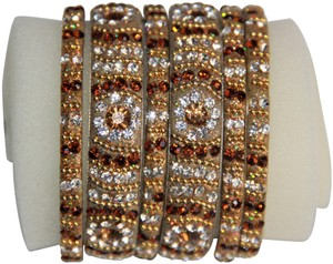 BOLLYWOOD Bollywood Opulent with Crystals over Metal Bangle Bracelets