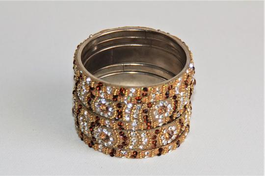BOLLYWOOD Bollywood Opulent with Crystals over Metal Bangle Bracelets Image 1