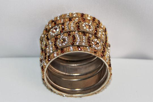 BOLLYWOOD Bollywood Opulent with Crystals over Metal Bangle Bracelets Image 4
