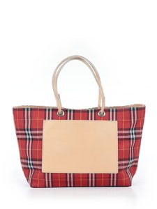 Burberry London Leather Signature Plaid Satchel Horseferry Check Tote in Red/White/Tan/Black/Yellow