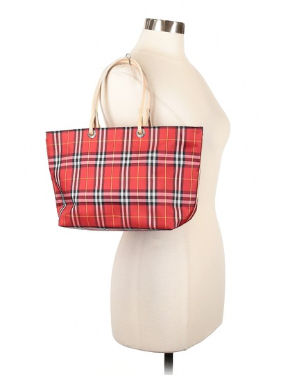 Burberry London Leather Signature Plaid Satchel Horseferry Check Tote in Red/White/Tan/Black/Yellow Image 1