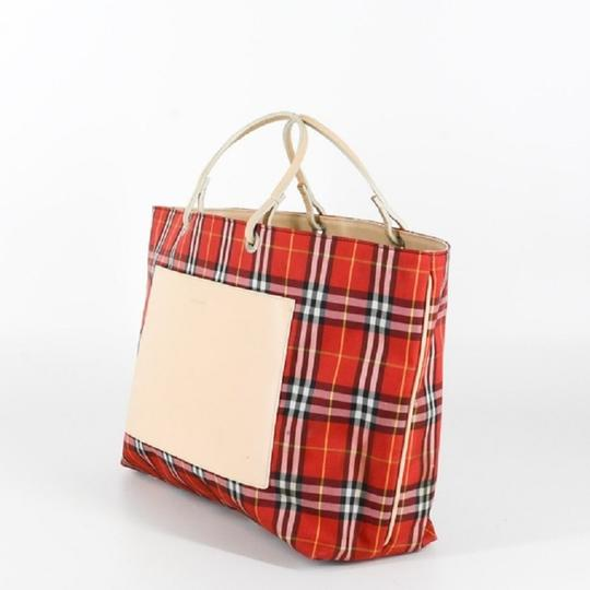 Burberry London Leather Signature Plaid Satchel Horseferry Check Tote in Red/White/Tan/Black/Yellow Image 2