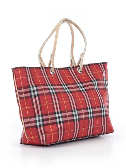 Burberry London Leather Signature Plaid Satchel Horseferry Check Tote in Red/White/Tan/Black/Yellow Image 3
