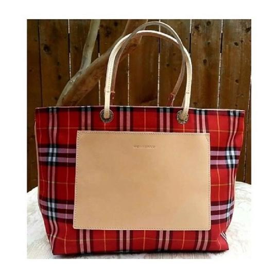 Burberry London Leather Signature Plaid Satchel Horseferry Check Tote in Red/White/Tan/Black/Yellow Image 4