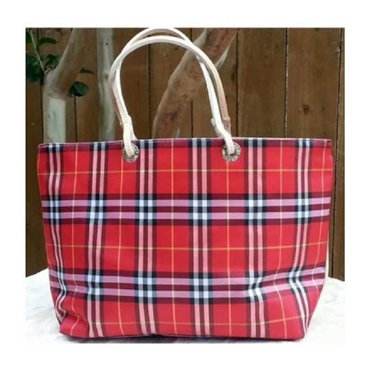 Burberry London Leather Signature Plaid Satchel Horseferry Check Tote in Red/White/Tan/Black/Yellow Image 5