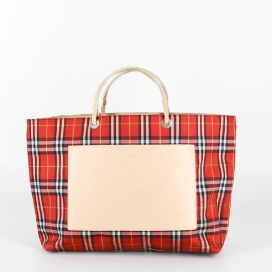 Burberry London Leather Signature Plaid Satchel Horseferry Check Tote in Red/White/Tan/Black/Yellow Image 6