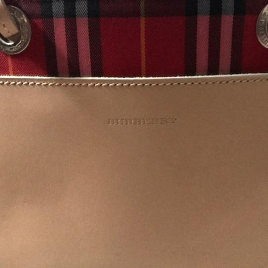 Burberry London Leather Signature Plaid Satchel Horseferry Check Tote in Red/White/Tan/Black/Yellow Image 8