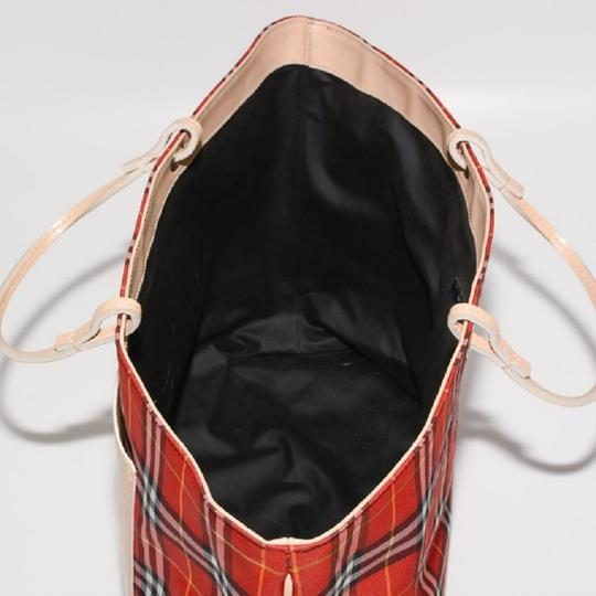 Burberry London Leather Signature Plaid Satchel Horseferry Check Tote in Red/White/Tan/Black/Yellow Image 9