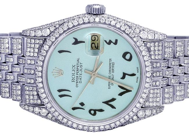 Rolex Mens Ladies Stainless Steel Datejust 36mm 16014 Iced Blue Dial Iced Out Diamond 14.0 Ct Watch Rolex Mens Ladies Stainless Steel Datejust 36mm 16014 Iced Blue Dial Iced Out Diamond 14.0 Ct Watch Image 1