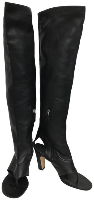 Item - Black Lambskin Thong Over The Knee Boots/Booties Size EU 38.5 (Approx. US 8.5) Wide (C, D)
