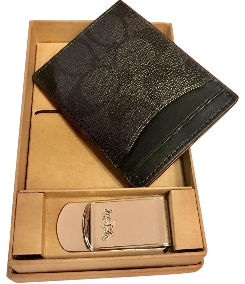 ba292560 Coach Charcoal/Black/Oxblood/Nickel Men's Card Case Money Clip Gift Set  Wallet 43% off retail