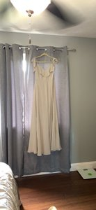 Jenny Yoo Gray Polyester Chiffon Cold Shoulder Gown Feminine Bridesmaid/Mob Dress Size 6 (S)