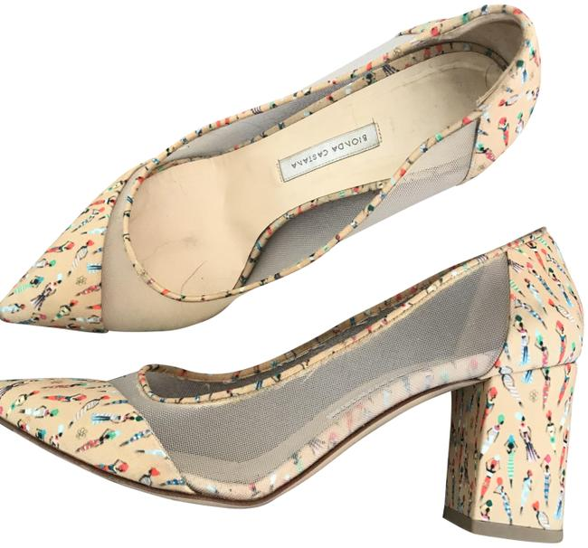 Item - Pale Yellow African Print Pumps Size EU 38 (Approx. US 8) Regular (M, B)