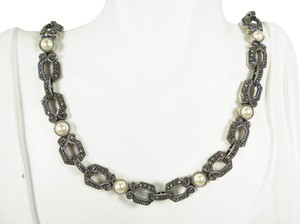 Judith Jack JUDITH JACK Sterling Silver White Faux Pearls Marcasite Necklace
