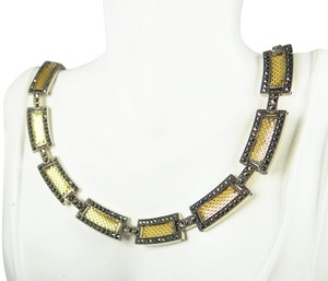 JUDITH JACK JUDITH JACK Sterling Silver 18K Yellow Gold Mesh & Marcasite Necklace