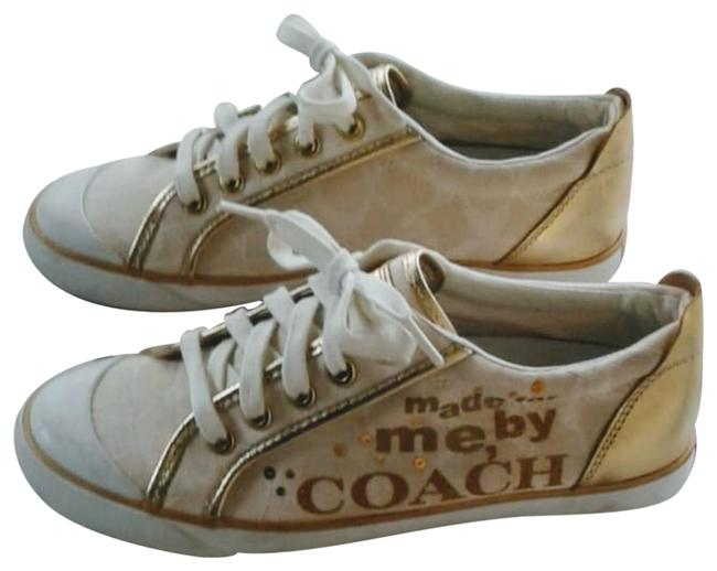 Item - Cream Canvas with Gold Writing Sneakers Size US 7 Regular (M, B)
