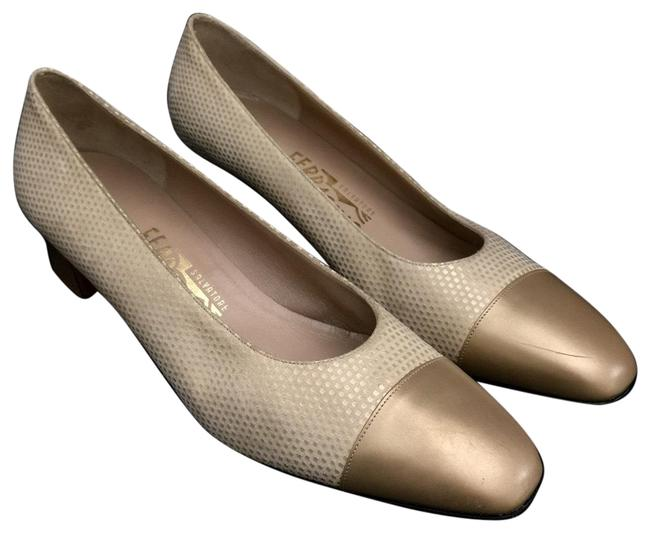 Item - Gold Suede & Leather Cap Pumps Size US 9.5 Narrow (Aa, N)