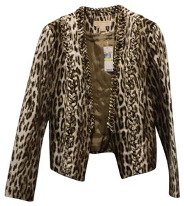 Michael Kors Dark Brown, beige, gold Leather Jacket