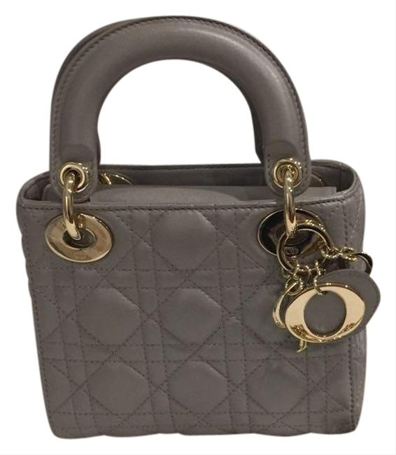 Item - Lady Christian Metallic Cannage Grey Lambskin Leather Shoulder Bag