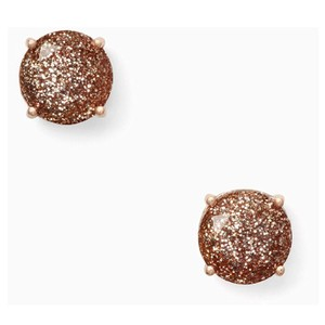 Kate Spade Kate Spade Rose Gold Glitter Sparkle Round Studs Earrings