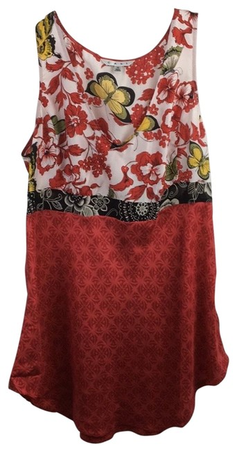 Item - Red & Multi Silk Butterfly Tank Top/Cami Size 10 (M)