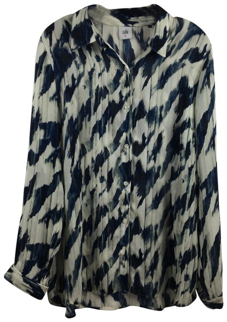 Item - Blue & White Moody Button-down Top Size 12 (L)