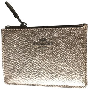 Coach Coach Gold Leather Key and Coin Pouch