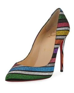 Christian Louboutin Stiletto Rainbow Striped Pigalle Glitter Multi Pumps