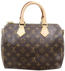 Louis Vuitton Lv Speedy 25 Bandouliere Monogram Canvas Satchel in Brown