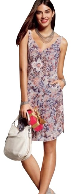Item - Pink and Purple #5049 Fresco Mid-length Short Casual Dress Size 8 (M)