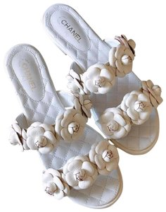 Chanel Sandals Flower Sandal Flats Slide White Mules