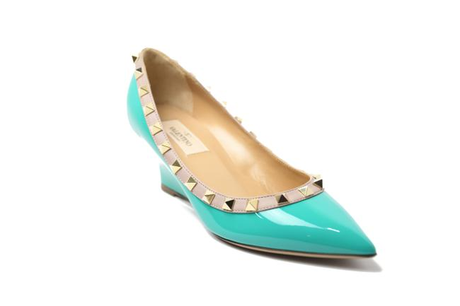Item - Turquoise Rockstud Patent Leather Wedge Pumps Size EU 36.5 (Approx. US 6.5) Regular (M, B)