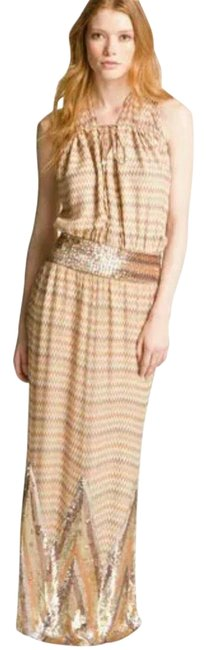 Item - Buff/ Multicolor Maggie May - Chevron Print Maxi Long Night Out Dress Size 8 (M)