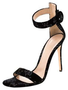 Gianvito Rossi Floral Embroidered Velvet Ankle Strap Black Sandals