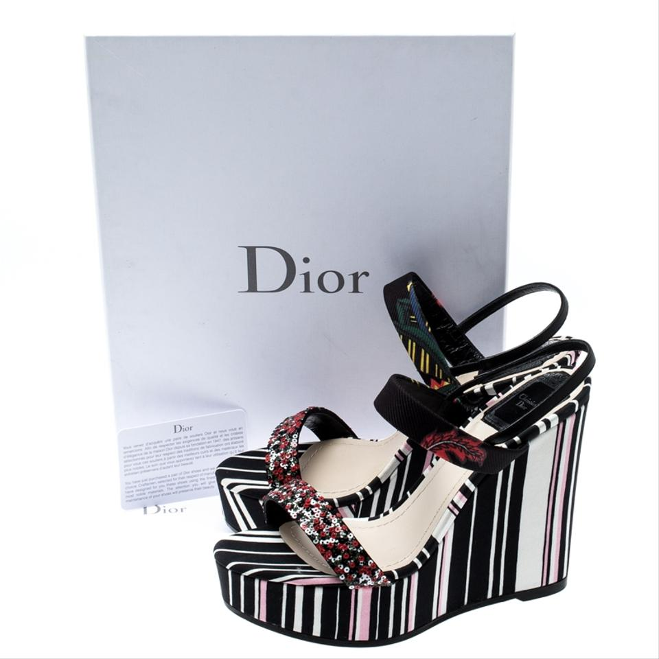 08c516cb147 Dior Multicolor Stripes Printed Satin Sequins Embellished Ankle Strap Wedge  Sandals Size EU 38.5 (Approx. US 8.5) Regular (M, B) 40% off retail