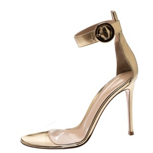Gianvito Rossi Metallic Leather Ankle Strap Gold Sandals