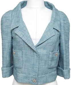 Chanel Tweed Jacket Crystal Coat Blue Blazer