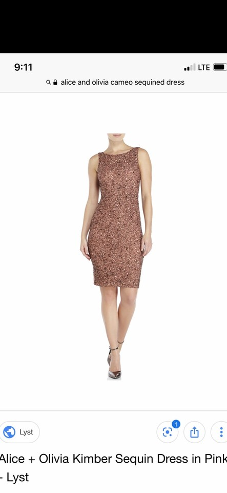 Alice Olivia Rose Gold Pink Kimber Sequined Mid Length Tail Dress Size 10 M 68 Off Retail