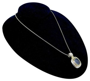 David Yurman David Yurman Sterling Silver Blue Chalcedony Necklace